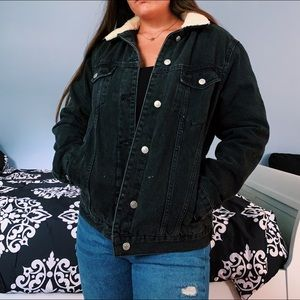 Black Denim Jacket with Sherpa Collar and Interior